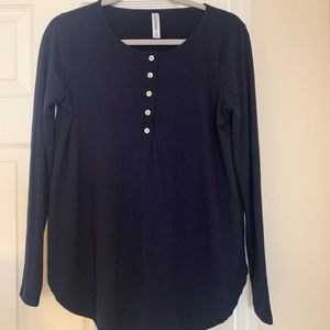 Zenana Navy Long Sleeve Button Tee